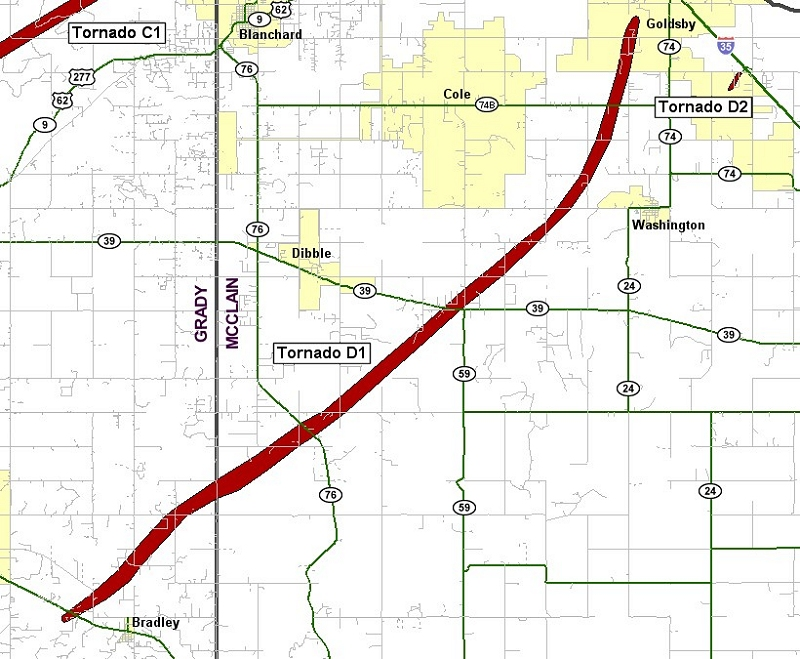 Preliminary Track for the Goldsby Tornado of May 24, 2011