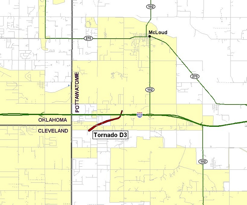 Preliminary Tornado Track for the the McLoud Tornado of May 24, 2011