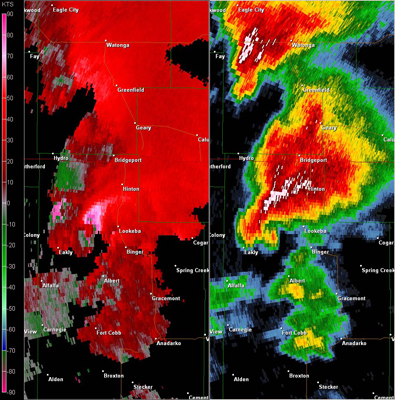 Twin Lakes, OK (KTLX) Combination Radar Relectivity and Storm Relative Velocity at 3:32 PM CDT on 5/24/2011