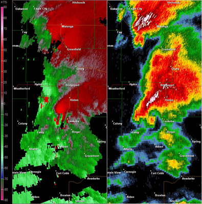 Twin Lakes, OK (KTLX) Combination Radar Relectivity and Storm Relative Velocity at 3:36 PM CDT on 5/24/2011