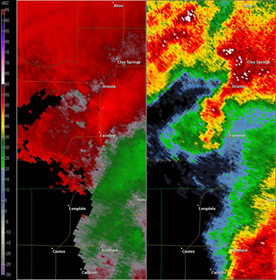 Vance AFB, OK (KVNX) Combination Radar Reflectivity and Storm Relative Velocity at 3:48 PM CDT on 5/24/2011