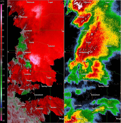 Twin Lakes, OK (KTLX) Combination Radar Reflectivity and Storm Relative Velocity at 3:49 PM CDT on 5/24/2011