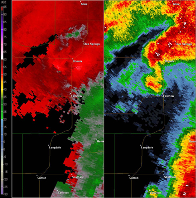 Vance AFB, OK (KVNX) Combination Radar Reflectivity and Storm Relative Velocity at 3:53 PM CDT on 5/24/2011