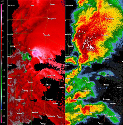 Twin Lakes, OK (KTLX) Combination Radar Reflectivity and Storm Relative Velocity at 4:10 PM CDT on 5/24/2011