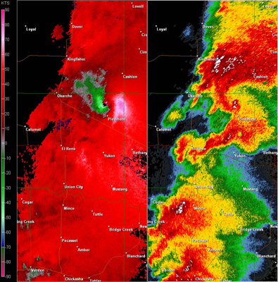 Twin Lakes, OK (KTLX) Combination Radar Reflectivity and Storm Relative Velocity at 4:52 PM CDT on 5/24/2011