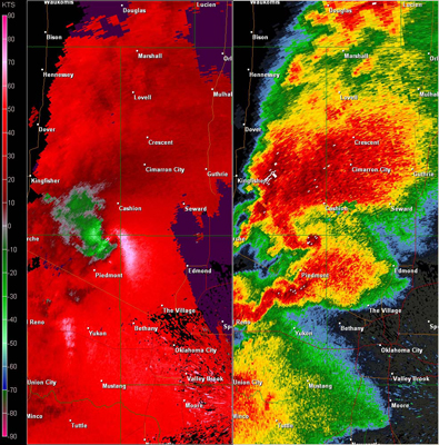 Twin Lakes, OK (KTLX) Combination Radar Reflectivity and Storm Relative Velocity at 4:57 PM CDT on 5/24/2011