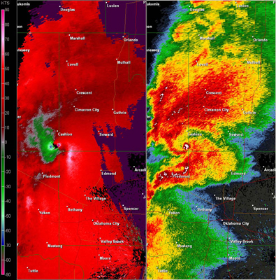 Twin Lakes, OK (KTLX) Combination Radar Reflectivity and Storm Relative Velocity at 5:01 PM CDT on 5/24/2011