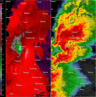 Twin Lakes, OK (KTLX) Combination Radar Reflectivity and Storm Relative Velocity at 5:05 PM CDT on 5/24/2011