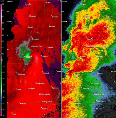 Twin Lakes, OK (KTLX) Combination Radar Reflectivity and Storm Relative Velocity at 5:10 PM CDT on 5/24/2011