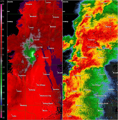 Twin Lakes, OK (KTLX) Combination Radar Reflectivity and Storm Relative Velocity at 5:14 PM CDT on 5/24/2011