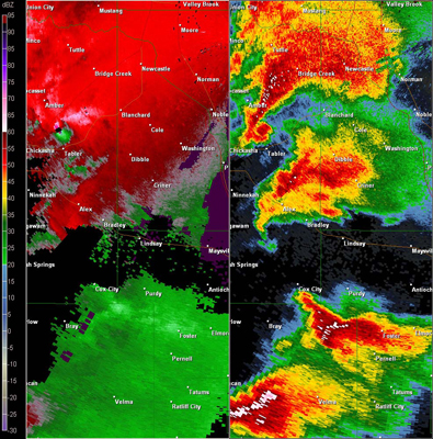 Twin Lakes, OK (KTLX) Combination Radar Reflectivity and Storm Relative Velocity at 5:22 PM CDT on 5/24/2011