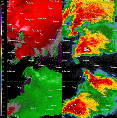 Twin Lakes, OK (KTLX) Combination Radar Reflectivity and Storm Relative Velocity at 5:26 PM CDT on 5/24/2011