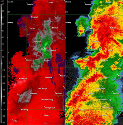 Twin Lakes, OK (KTLX) Combination Radar Reflectivity and Storm Relative Velocity at 5:27 PM CDT on 5/24/2011