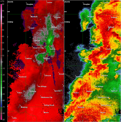 Twin Lakes, OK (KTLX) Combination Radar Reflectivity and Storm Relative Velocity at 5:31 PM CDT on 5/24/2011