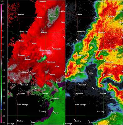 Twin Lakes, OK (KTLX) Combination Radar Reflectivity and Storm Relative Velocity at 5:35 PM CDT on 5/24/2011