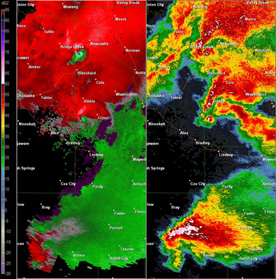 Twin Lakes, OK (KTLX) Combination Radar Reflectivity and Storm Relative Velocity at 5:39 PM CDT on 5/24/2011