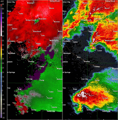 Twin Lakes, OK (KTLX) Combination Radar Reflectivity and Storm Relative Velocity at 5:43 PM CDT on 5/24/2011