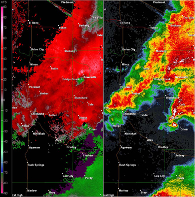 Twin Lakes, OK (KTLX) Combination Radar Reflectivity and Storm Relative Velocity at 5:44 PM CDT on 5/24/2011