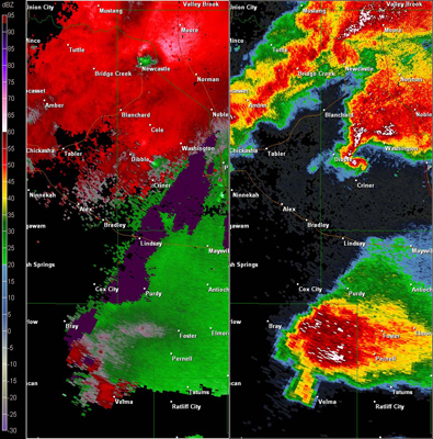 Twin Lakes, OK (KTLX) Combination Radar Reflectivity and Storm Relative Velocity at 5:48 PM CDT on 5/24/2011