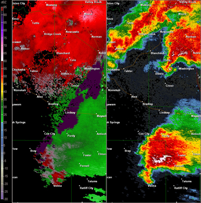 Twin Lakes, OK (KTLX) Combination Radar Reflectivity and Storm Relative Velocity at 5:52 PM CDT on 5/24/2011