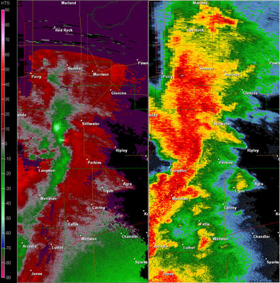 Twin Lakes, OK (KTLX) Combination Radar Reflectivity and Storm Relative Velocity at 5:56 PM CDT on 5/24/2011