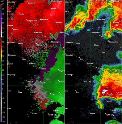 Twin Lakes, OK (KTLX) Combination Radar Reflectivity and Storm Relative Velocity at 6:00 PM CDT on 5/24/2011