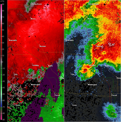 Twin Lakes, OK (KTLX) Combination Radar Reflectivity and Storm Relative Velocity at 6:05 PM CDT on 5/24/2011