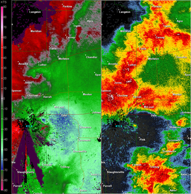 Twin Lakes, OK (KTLX) Combination Radar Reflectivity and Storm Relative Velocity at 6:30 PM CDT on 5/24/2011