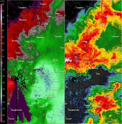 Twin Lakes, OK (KTLX) Combination Radar Reflectivity and Storm Relative Velocity at 6:34 PM CDT on 5/24/2011