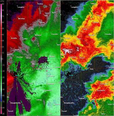 Twin Lakes, OK (KTLX) Combination Radar Reflectivity and Storm Relative Velocity at 6:39 PM CDT on 5/24/2011