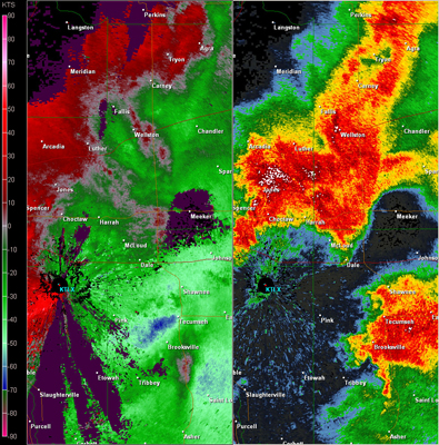 Twin Lakes, OK (KTLX) Combination Radar Reflectivity and Storm Relative Velocity at 6:43 PM CDT on 5/24/2011