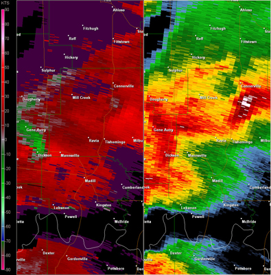 Fort Worth, TX (KFWS) Radar Reflectivity and Storm Relative Velocity at 7:18 PM CDT on 5/24/2011