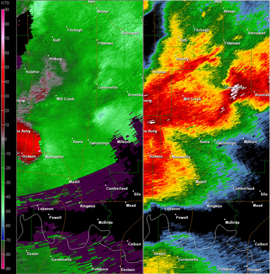 Twin Lakes, OK (KTLX) Radar Reflectivity and Storm Relative Velocity at 7:21 PM CDT on 5/24/2011