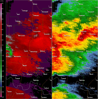 Fort Worth, TX (KFWS) Radar Reflectivity and Storm Relative Velocity at 7:22 PM CDT on 5/24/2011