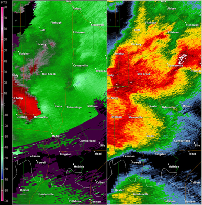 Twin Lakes, OK (KTLX) Radar Reflectivity and Storm Relative Velocity at 7:25 PM CDT on 5/24/2011