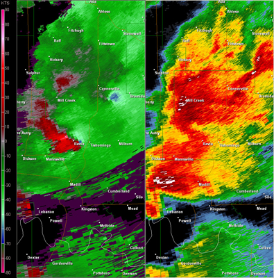 Twin Lakes, OK (KTLX) Radar Reflectivity and Storm Relative Velocity at 7:33 PM CDT on 5/24/2011