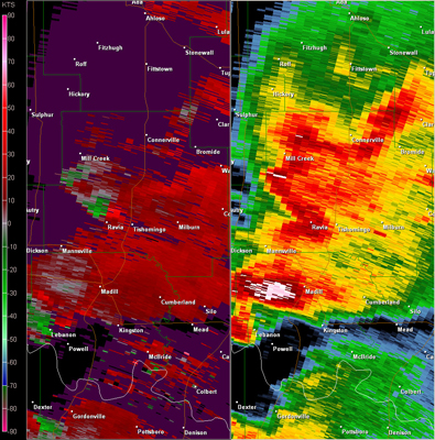 Fort Worth, TX (KFWS) Radar Reflectivity and Storm Relative Velocity at 7:34 PM CDT on 5/24/2011