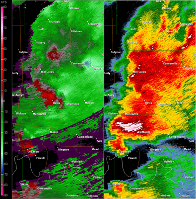 Twin Lakes, OK (KTLX) Radar Reflectivity and Storm Relative Velocity at 7:37 PM CDT on 5/24/2011