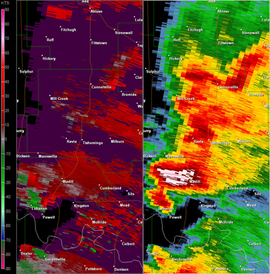 Fort Worth, TX (KFWS) Radar Reflectivity and Storm Relative Velocity at 7:39 PM CDT on 5/24/2011