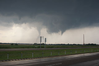 View of Tornado D1 to the left and behind Tornado D2. Photo provided courtesy of Tim Marquis.