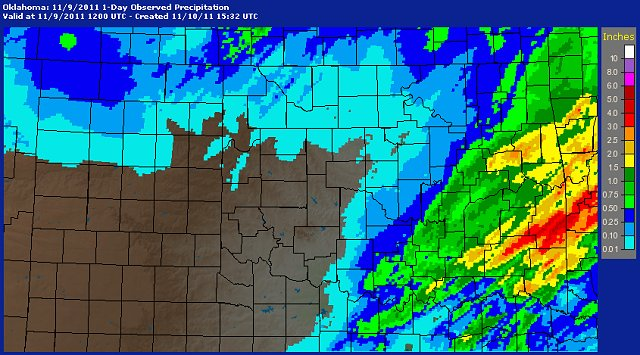 24-hour Multisensor Precipitation Estimate Map for Oklahoma and Western North Texas ending at 6 AM CST on November 9, 2011