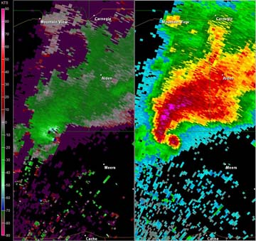 Radar Reflectivity/Velocity of a tornado-producing supercell northwest of Meers, OK