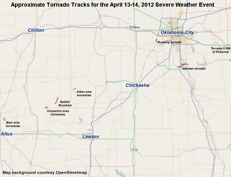 Map of the Approximate Tornado Tracks for the April 13-14, 2012 Severe Weather Event