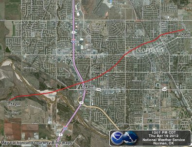 Preliminary Path of the April 13, 2012 Norman, Oklahoma Tornado