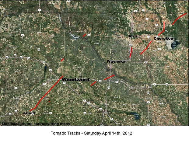 Map of the Approximate Tornado Tracks for the April 14, 2012 Severe Weather Outbreak