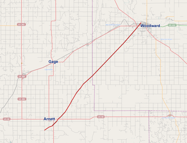 Map of the Approximate Tornado Track for the April 14, 2012 Woodward, OK Tornado