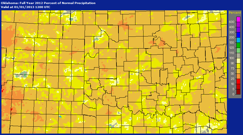 Percent of Normal Precipitation That Has Occurred Across the NWS Norman Forecast Area for 2012