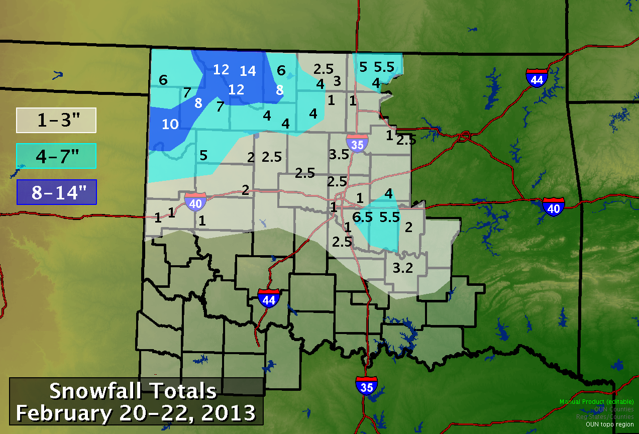 Snowfall Totals for the February 20-21, 2013 Winter Storm