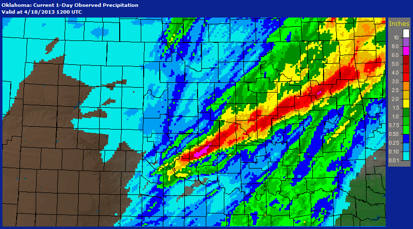 24-hour Multi-sensor Precipitation Estimates Ending at 7:00 am CDT on 4/18/2013
