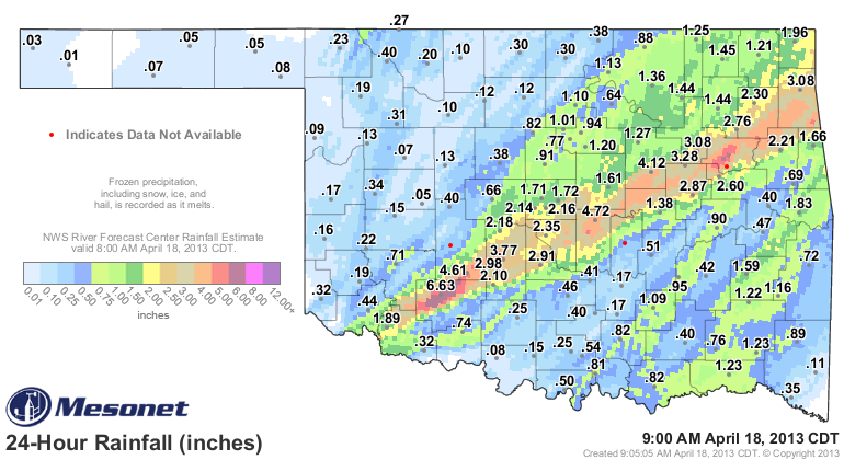 24-hour Muliti-sensor Precipitation Estimates with Mesonet Station Totals Ending at 7:00 am CDT on 4/18/2013